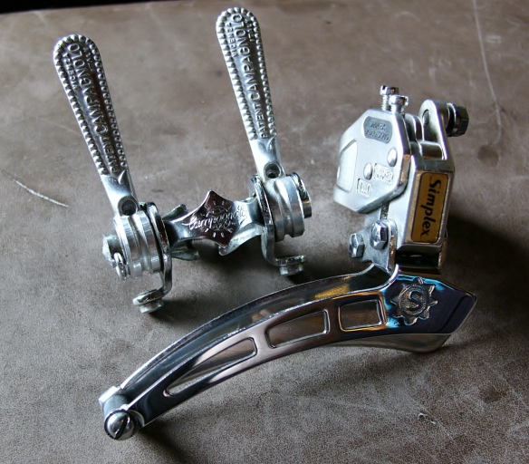 Simplex Super LJ and Campagnolo shifters