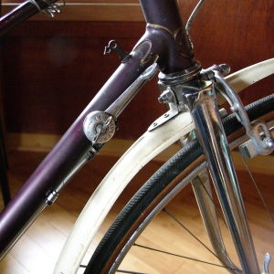 Lugged chrome fork, way more clearance than needed by these narrow 20mm tubulars