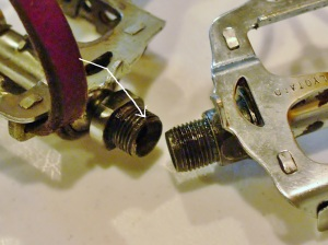 Lyotard pedal thread and spindle failure, compared to newer version with longer spindle and more threads.