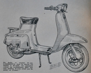 Daniel Rebour drawing of 1962 Lambretta